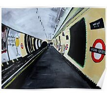 London Underground Wood Green Piccadilly Line Tube Station Acrylic Painting Poster