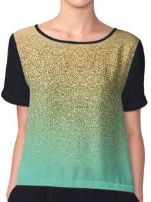 Gold Glitter Aqua Gradient Chiffon Top
