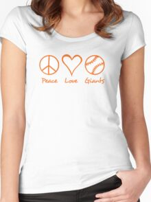 Peace, Love, Giants Women's Fitted Scoop T-Shirt