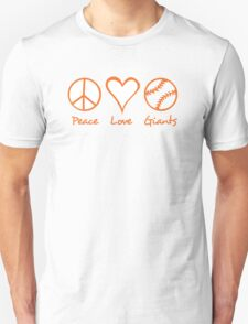 Peace, Love, Giants Unisex T-Shirt