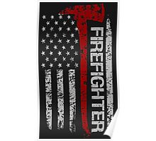 Firefighter American Pride Flag T-Shirt Poster