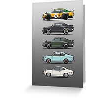 Stack of Mazda Savanna GT RX-3 Coupes Greeting Card