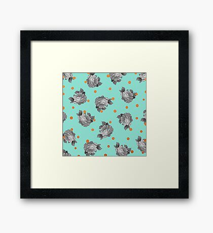 Roses and Dots in Mint Framed Print