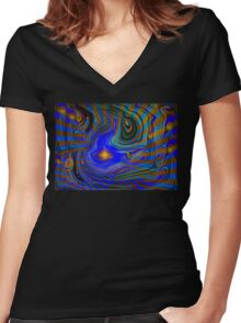 Alien Land Of Rivers And Light Women's Fitted V-Neck T-Shirt