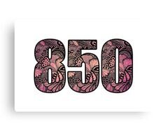 850 Area Code Doodle Canvas Print