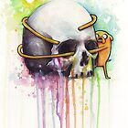 Jake the Dog Holding Skull Adventure Watercolor Art by OlechkaDesign