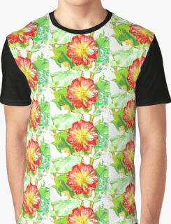 White and Pink Water Lily Abstract Graphic T-Shirt