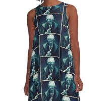 BLUE TRUMP PATTERN A-Line Dress