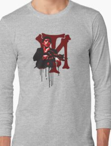 -MOVIES- Tony Montana Bloody Logo Long Sleeve T-Shirt