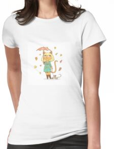 Autumn cat. Womens Fitted T-Shirt