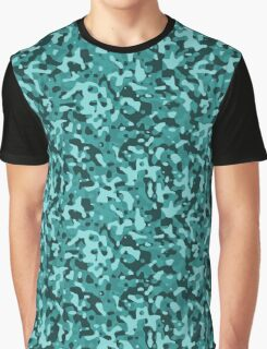 Aqua Blue and Black Army Camouflage Graphic T-Shirt