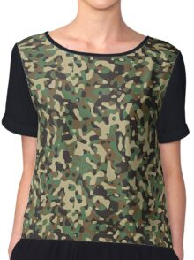 Classic Green Brown Army Camo Camouflage Chiffon Top