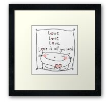 Love love love / Cat Doodles Framed Print
