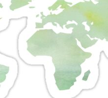 Green Watercolor World Map Sticker