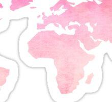 Pink Watercolor World Map Sticker