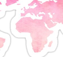 Pink Watercolor World Map Sticker