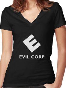 Mr. Robot Evil Corp Logo Women's Fitted V-Neck T-Shirt