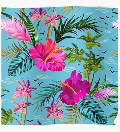 Hello Hawaii, a stylish retro aloha pattern. Poster