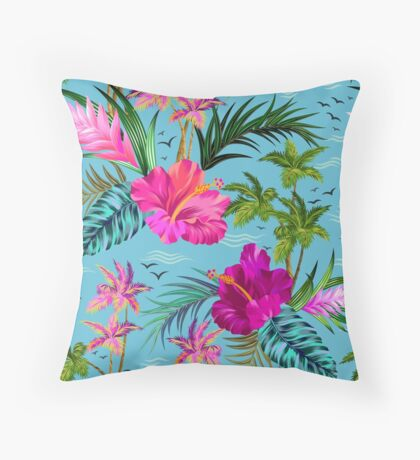 Hello Hawaii, a stylish retro aloha pattern. Throw Pillow