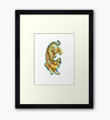 Traditional Tiger Tattoo watercolor painting Framed Print
