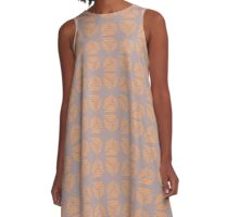 Abstract Tribal Stroked Pyramid Shapes Apricot Peach and Grey Mauve A-Line Dress
