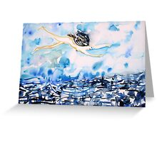 FLYING OVER TROUBLED WATERS Greeting Card