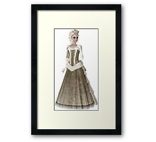 Blond Woman Wearing Olive Green and Beige Dress, Gloves and Hat. Steampunk Art Framed Print