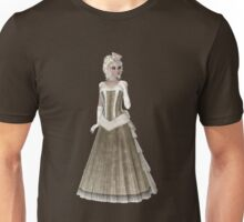 Blond Woman Wearing Olive Green and Beige Dress, Gloves and Hat. Steampunk Art Unisex T-Shirt