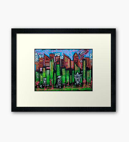 Robo World - City of Secrets Framed Print
