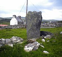Glencolmncille standing stone, Donegal, bland card by Aine MacAodha