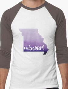 Missouri - purple watercolor Men's Baseball ¾ T-Shirt