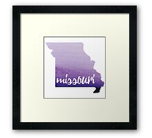 Missouri - purple watercolor Framed Print