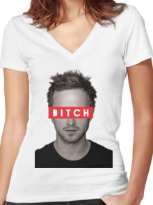 Jesse Pinkman - Bitch. Women's Fitted V-Neck T-Shirt