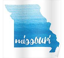 Missouri - blue watercolor Poster