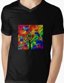 Psychedelic Tree Mens V-Neck T-Shirt