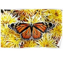 Butterfly on Flowers (detailed) Poster