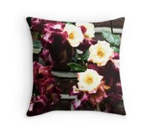 Ring of Yellow & Purple Roses Throw Pillow
