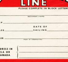 CUNARD LINE VINTAGE LUGGAGE TAG STATEROOM BAGGAGE RMS QUEEN MARY MAURETANIA LUSITANIA LANCASTRIA Sticker