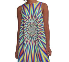 Red Blue and Yellow Supernova A-Line Dress