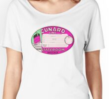 CUNARD LINE VINTAGE LUGGAGE TAG STATEROOM BAGGAGE  RMS QUEEN MARY MAURETANIA LUSITANIA LANCASTRIA Women's Relaxed Fit T-Shirt