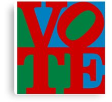 VOTE (red on blue and green) Canvas Print