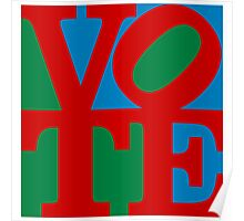 VOTE (red on blue and green) Poster