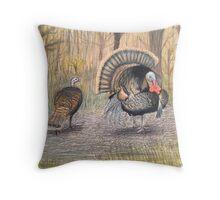 Turkeys in Autumn  Throw Pillow
