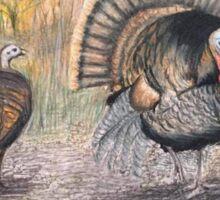 Turkeys in Autumn  Sticker