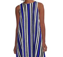 Blue Black White Stripe Bed Cover A-Line Dress