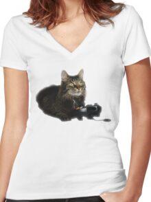 gamer cat Women's Fitted V-Neck T-Shirt