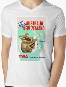 """TWA"" Fly to Australia & New Zealand Print Mens V-Neck T-Shirt"