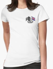 Triumph Shield with Checkered Racing and British Flag Womens Fitted T-Shirt