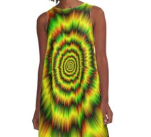 Colour Explosion in Yellow Green and Red A-Line Dress