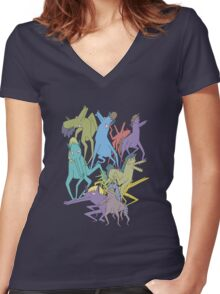 Horse on Horse on Horse Women's Fitted V-Neck T-Shirt